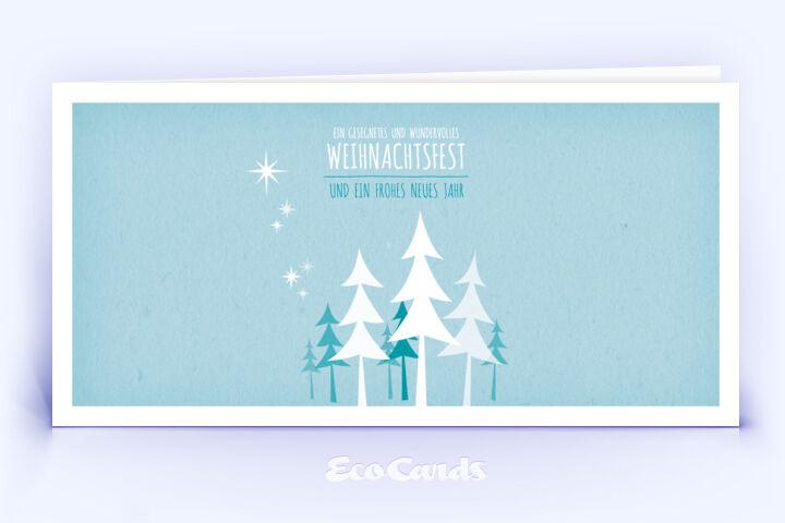 Öko Weihnachtskarte Nr. 452 hellblau mit einem Weihnachtsbaum ist mit einem verspielten Layout bedruckt.