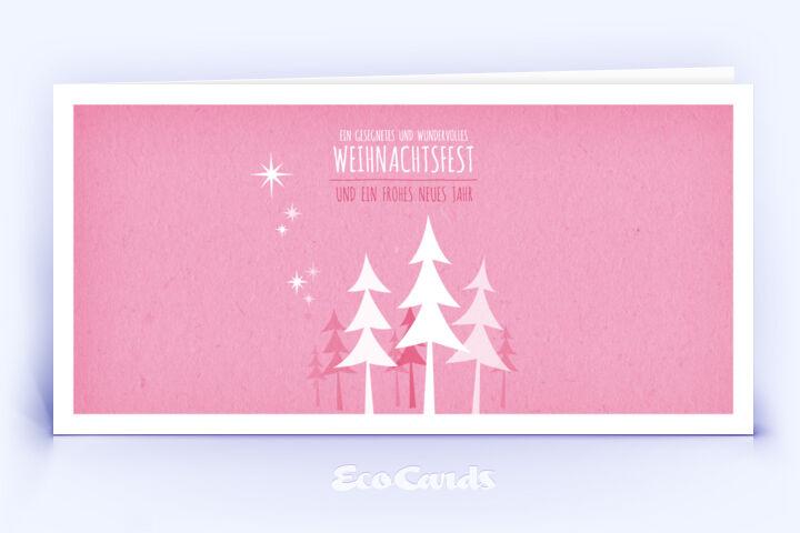 Öko Weihnachtskarte Nr. 454 pink mit Zeichnung zeigt ein märchenhaftes Design.