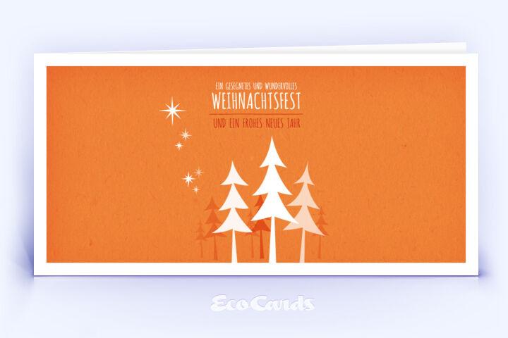 Öko Weihnachtskarte Nr. 458 orange mit einem Weihnachtsbaum ist mit einem verspielten Layout bedruckt.