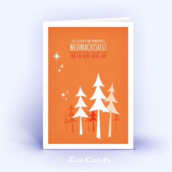 Öko Weihnachtskarten Nr. 489 orange mit handgemalter Zeichnung zeigen ein modernes Dekor.