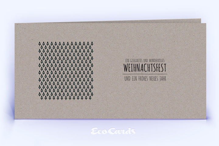 Öko Weihnachtskarte Nr. 490 grau mit winterlichem Muster ist mit einem grafischen Motiv bedruckt.