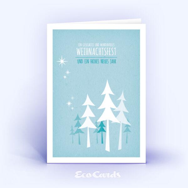 Öko Weihnachtskarten Nr. 491 hellblau mit einer Zeichnung zeigen ein schlichtes Layout.