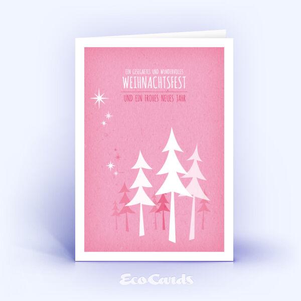 Öko Weihnachtskarten Nr. 493 pink mit handgefertigter Illustration sind mit einem verspielten Dekor verziert.