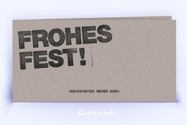 Öko Weihnachtskarte Nr. 494 grau mit einem typografischem Layout ist mit einem grafischen Artwork bedruckt.
