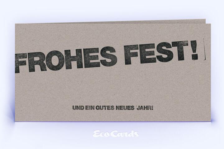 Öko Weihnachtskarte Nr. 496 grau mit typografisch gestaltetem Design ist mit einem schlichten Layout bedruckt.