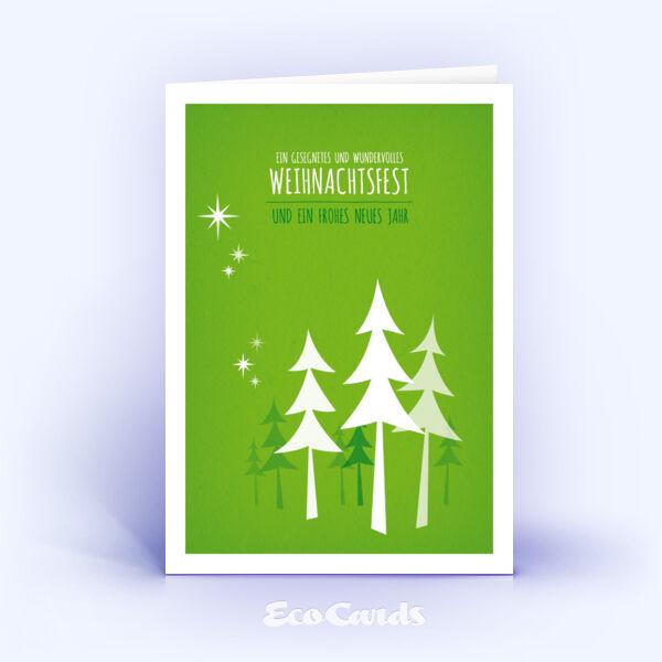 Öko Weihnachtskarten Nr. 497 gruen mit einem Christbaum zeigen eine stylishe Aufmachung.