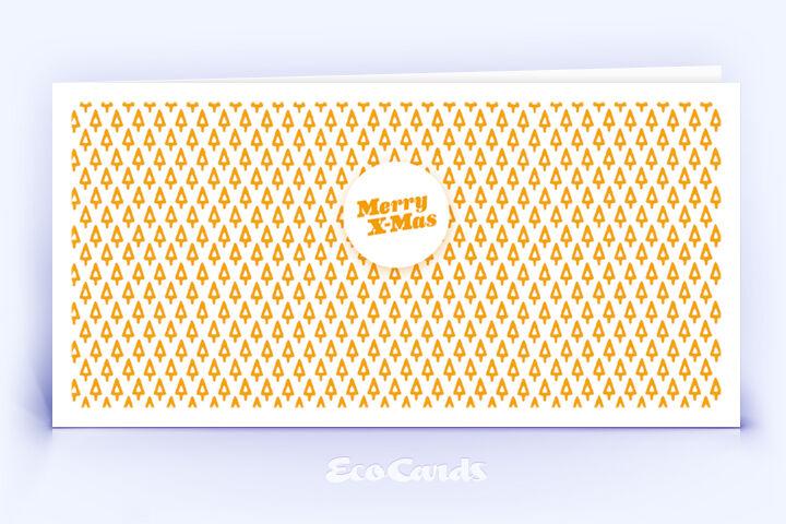 Öko Weihnachtskarte Nr. 502 orange mit Muster aus filigranen Weihnachtsbäumen zeigt eine verspielte Gestaltung.