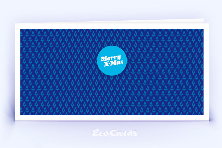 Öko Weihnachtskarte Nr. 508 dunkelblau mit einem Muster aus filigranen Weihnachtsbäumen zeigt ein stylishes Kartenmotiv.