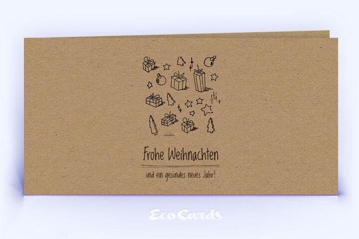 Öko Weihnachtskarte Nr. 522 braun mit einer handgemalten Zeichnung ist mit einem verspielten Motiv bedruckt.