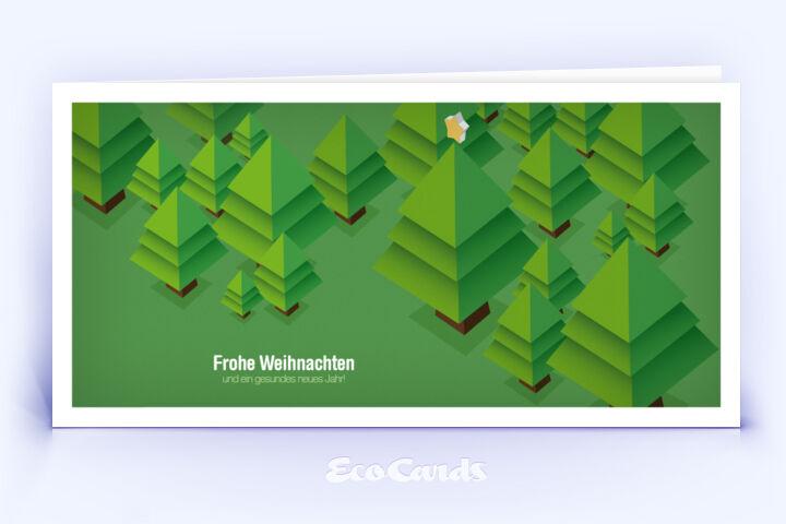 Öko Weihnachtskarte Nr. 534 gruen mit einem Weihnachtsbaum zeigt ein modernes Design.