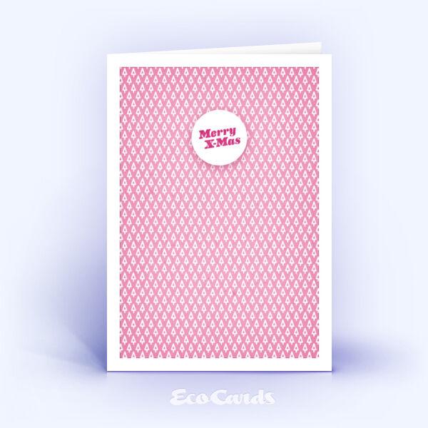 Öko Weihnachtskarten Nr. 541 pink mit Muster aus mehreren Weihnachtsbäumen sind mit einem verspielten Design verziert.