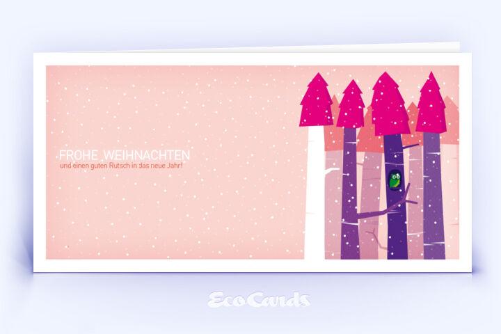 Öko Weihnachtskarte Nr. 554 pink mit handgefertigter Zeichnung zeigt eine märchenhafte Anmutung.