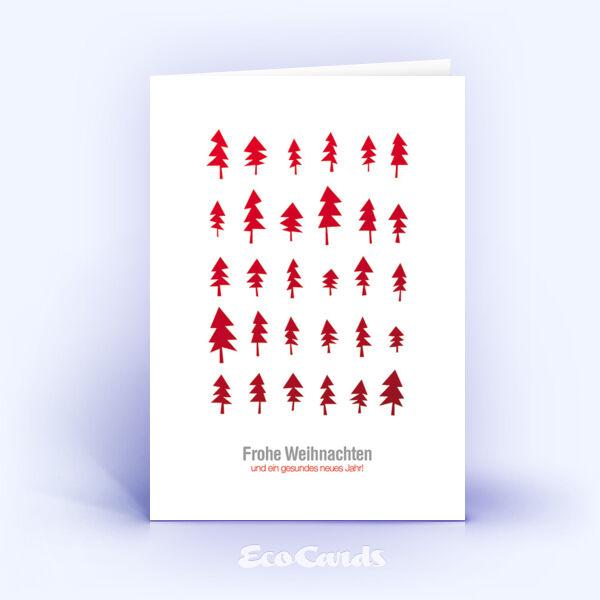 Öko Weihnachtskarten Nr. 555 rot mit Christbaum zeigen ein schönes Motiv.
