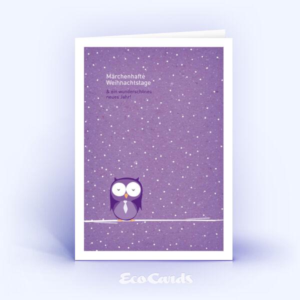 Öko Weihnachtskarten Nr. 563 lila mit handgezeichneter Illustration sind mit einem verspielten Layout verziert.