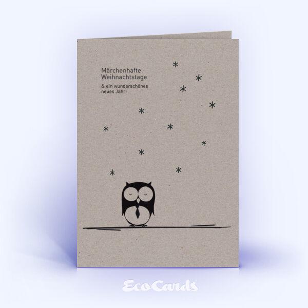 Öko Weihnachtskarten Nr. 567 grau mit handgezeichneter Illustration zeigen ein märchenhaftes Layout.