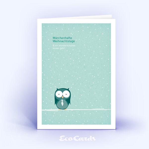 Öko Weihnachtskarten Nr. 569 tuerkis mit handgezeichneter Illustration zeigen ein märchenhaftes Design.