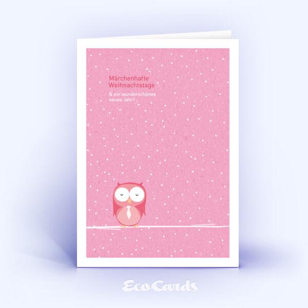 Öko Weihnachtskarten Nr. 571 rosa mit handgemalter Illustration zeigen ein märchenhaftes Layout.
