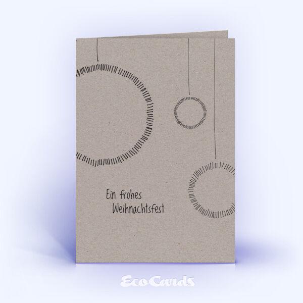Öko Weihnachtskarten Nr. 595 grau mit handgefertigter Zeichnung sind mit einem grafischen Kartenmotiv bedruckt.