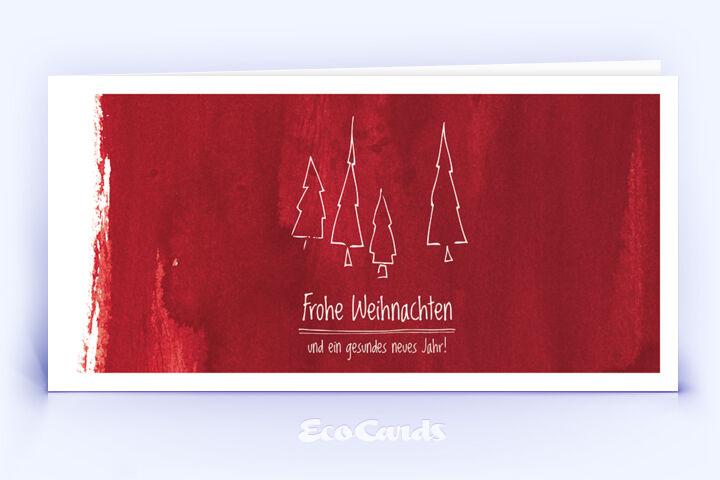 Öko Weihnachtskarte Nr. 602 rot mit einem handgemalten Weihnachtsbaum ist mit einem edlen Kartendesign versehen.