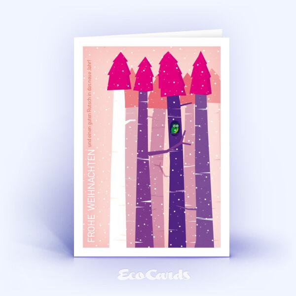 Öko Weihnachtskarten Nr. 611 pink mit Zeichnung sind mit einem verspielten Motiv verziert.