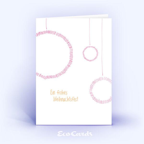 Öko Weihnachtskarten Nr. 621 rosa mit einer Zeichnung zeigen ein verspieltes Design.