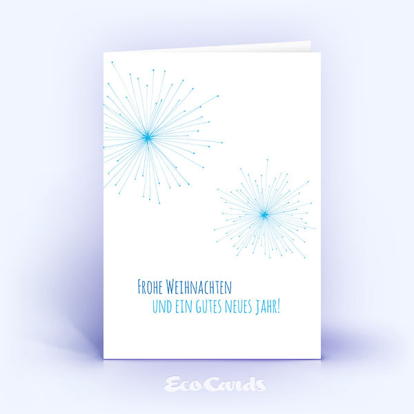 Öko Weihnachtskarten Nr. 627 blau mit handgefertigter Zeichnung zeigen ein stylishes Motiv.