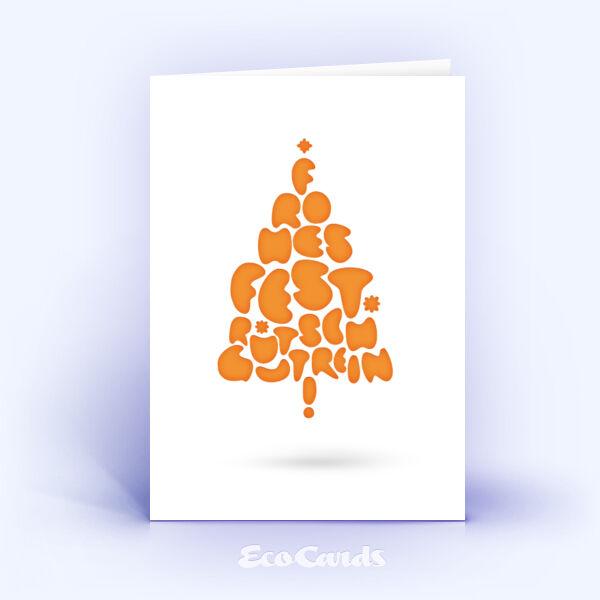 Öko Weihnachtskarten Nr. 669 orange mit einem Weihnachtsbaum sind mit einem grafischen Design bedruckt.