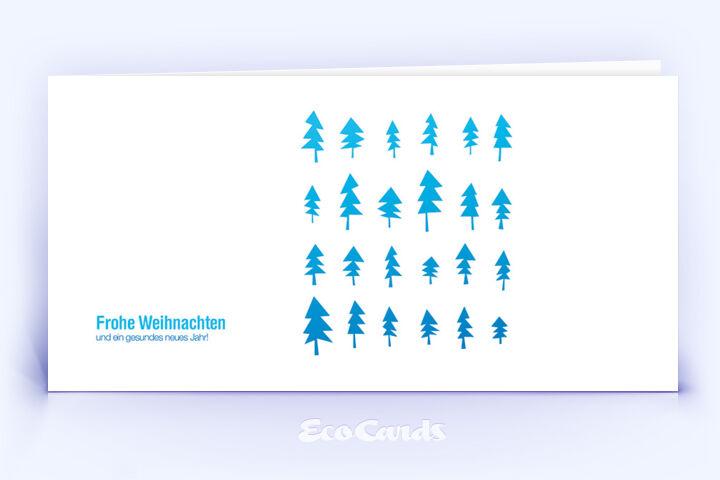 Öko Weihnachtskarte Nr. 674 blau mit einem handgemalten Weihnachtsbaum ist mit einem grafischen Artwork bedruckt.