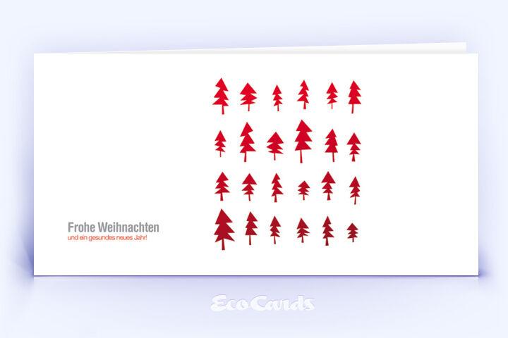 Öko Weihnachtskarte Nr. 676 rot mit einer Zeichnung ist mit einem schönen Layout bedruckt.