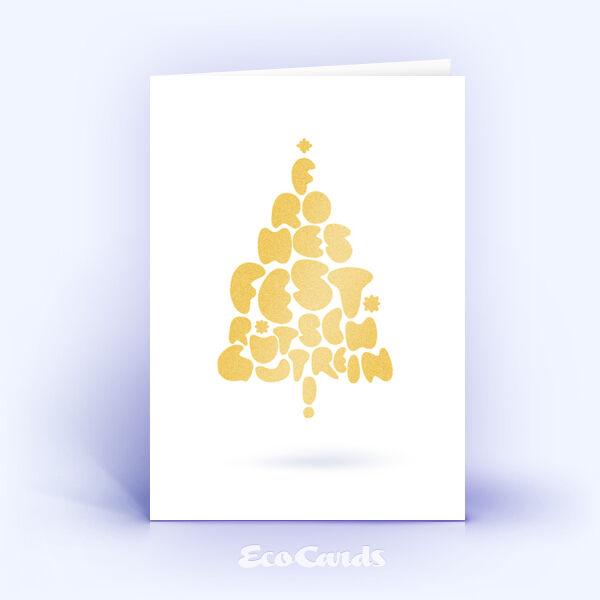 Öko Weihnachtskarten Nr. 679 gold mit Weihnachtsbaum zeigen eine ausgefallene Gestaltung.