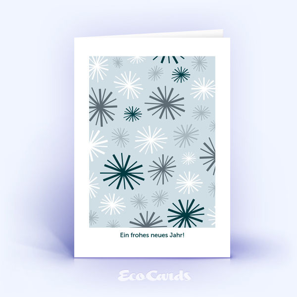 Öko Weihnachtskarten Nr. 709 hellblau mit einer handgemalten Zeichnung sind mit einem verspielten Layout verziert.