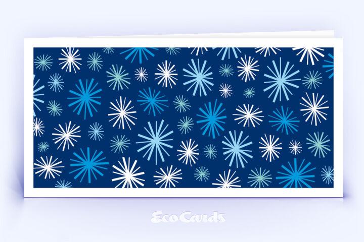 Öko Weihnachtskarte Nr. 712 dunkelblau mit grafischer Darstellung im Vintage-Design ist mit einem modernen Motiv verziert.