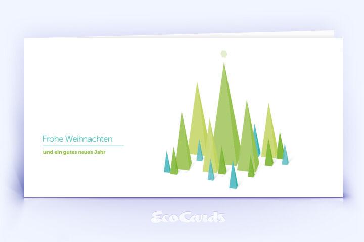 Öko Weihnachtskarte Nr. 744 gruen mit Zeichnung zeigt ein grafisches Motiv.