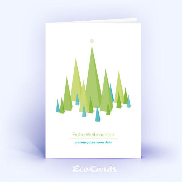 Öko Weihnachtskarten Nr. 745 gruen mit einer Zeichnung sind mit einem abstrakten Motiv bedruckt.