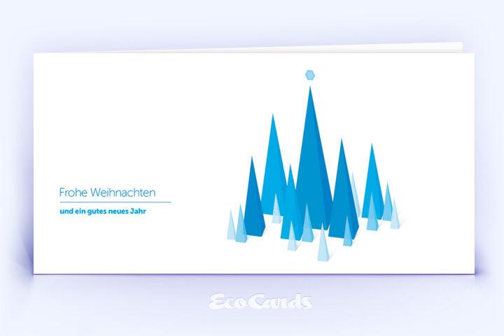 Öko Weihnachtskarte Nr. 746 blau mit sich überlagernden Dreiecken zeigt ein abstraktes Design.