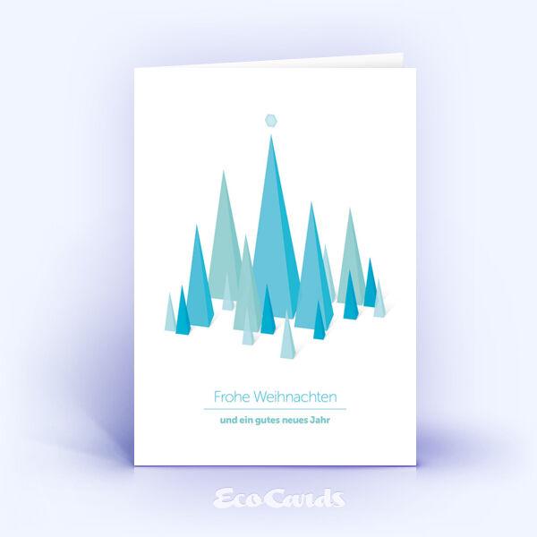 Öko Weihnachtskarten Nr. 749 hellblau mit Design aus verschiedenen dreieckigen Flächen sind mit einem grafischen Layout bedruckt.