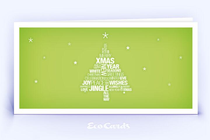 Öko Weihnachtskarte Nr. 772 gruen mit Hauptaugenmerk auf den Weihnachtstext zeigt eine edle Gestaltung.