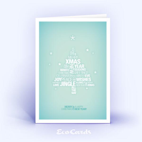 Öko Weihnachtskarten Nr. 773 tuerkis mit grafischem Schwerpunkt auf der Textgestaltung zeigen ein festliches Layout.