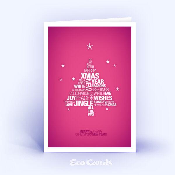 Öko Weihnachtskarten Nr. 775 pink mit Fokus auf den Weihnachtsspruch zeigen eine moderne Anmutung.