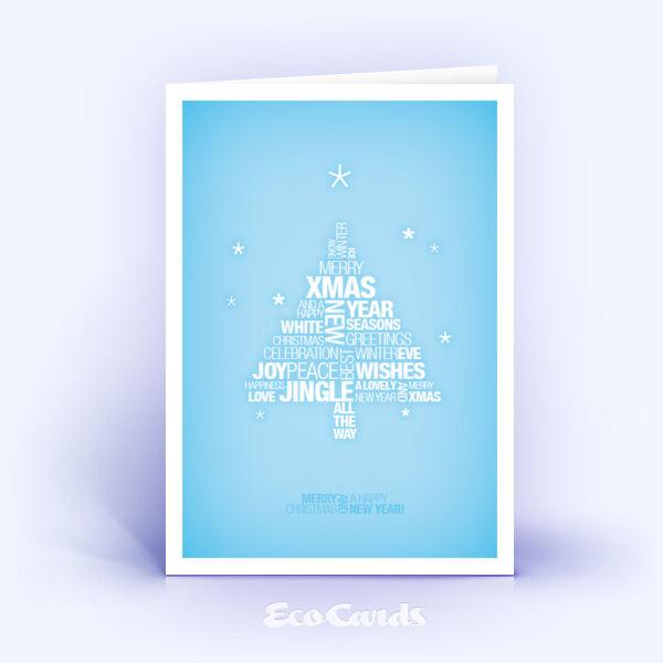 Öko Weihnachtskarten Nr. 777 hellblau mit Weihnachtsbaum zeigen einen modernen Entwurf.