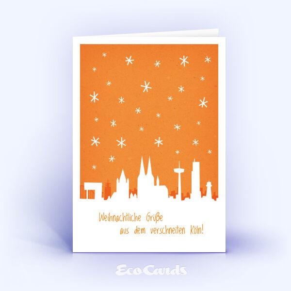 Öko Weihnachtskarten Nr. 779 orange mit einem Köln Panorama sind mit einem stylishen Design verziert.