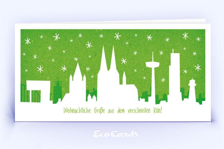 Öko Weihnachtskarte Nr. 782 gruen mit Köln Bezug zeigt ein stylishes Motiv.