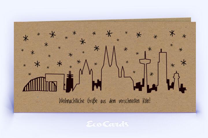 Öko Weihnachtskarte Nr. 784 braun mit deutlichem Köln Bezug zeigt ein modernes Design.
