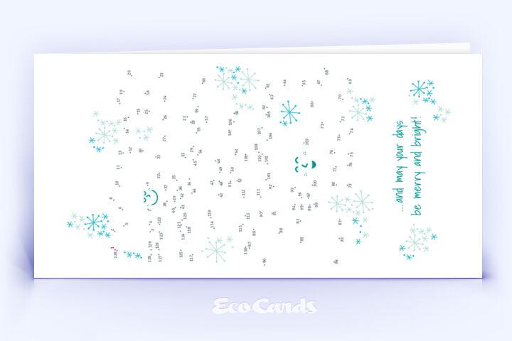 Öko Weihnachtskarte Nr. 786 tuerkis mit einem kreativen Bilderrätsel zeigt ein modernes Kartenmotiv.