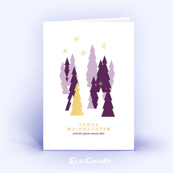 Öko Weihnachtskarten Nr. 815 gold mit verschiedenen Weihnachtsbäumen sind mit einem schönen Motiv bedruckt.