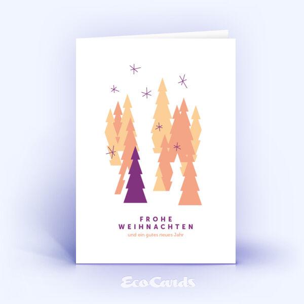 Öko Weihnachtskarten Nr. 819 orange mit einem Weihnachtsbaum sind mit einem originellen Kartenmotiv bedruckt.