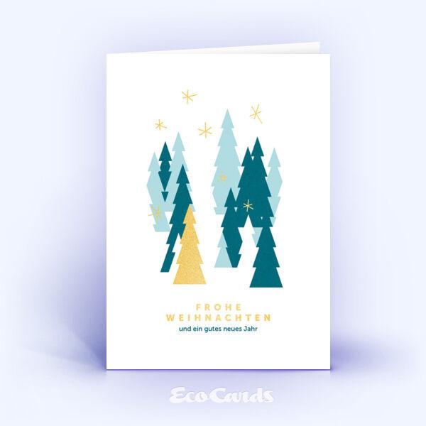 Öko Weihnachtskarten Nr. 821 gold mit mehreren Weihnachtsbäumen zeigen ein modernes Kartenmotiv.