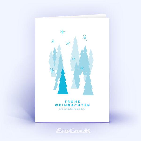 Öko Weihnachtskarten Nr. 823 hellblau mit Christbaum sind mit einem individuellen Kartendesign bedruckt.