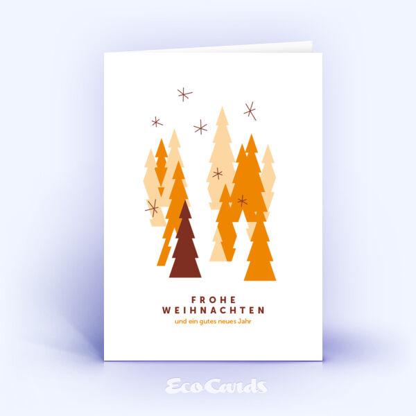 Weihnachtskarte Nr. 827 orange mit einem Weihnachtsbaum