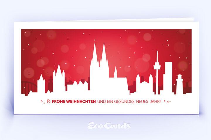Weihnachtskarte Nr. 846 rot mit einer Köln Skyline